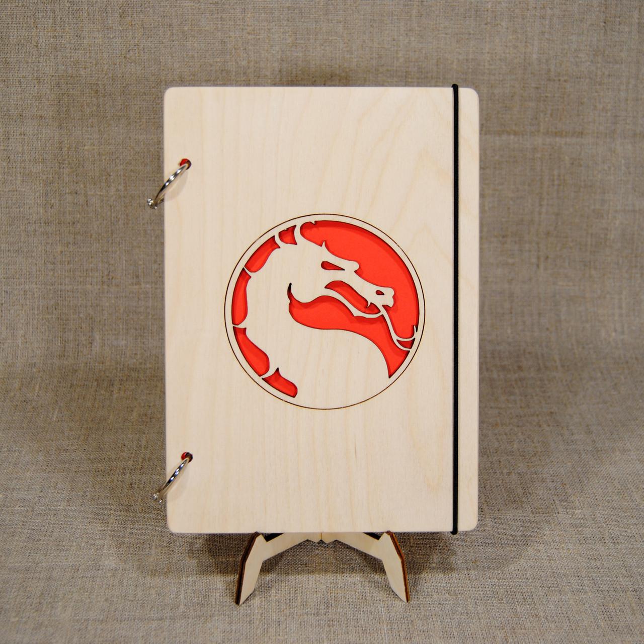 Скетчбук A5 Mortal Kombat. Блокнот с деревянной обложкой.