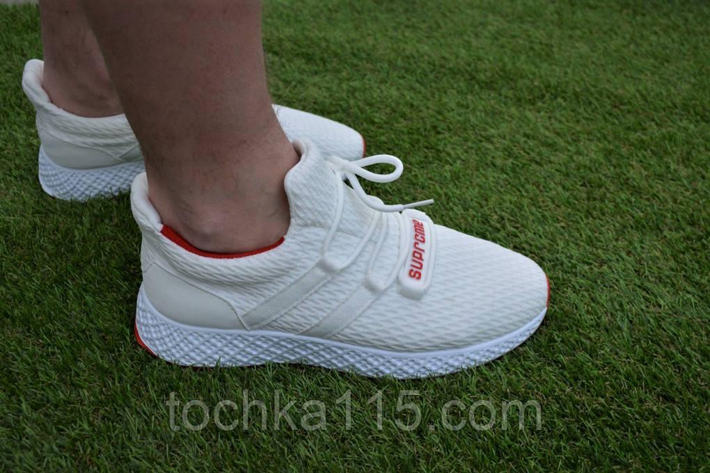 Мужские кроссовки Adidas White адидас белые сетка, копия