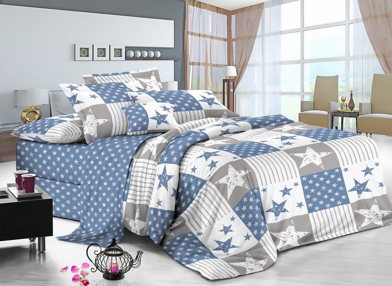 Двуспальный комплект постельного белья евро 200*220 сатин (11372) TM КРИСПОЛ Украина