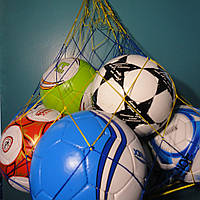 "Сетка для переноски мячей ""ЭКОНОМ"", на 10 мячей, шнур Д - 2,5 мм желто-синяя"