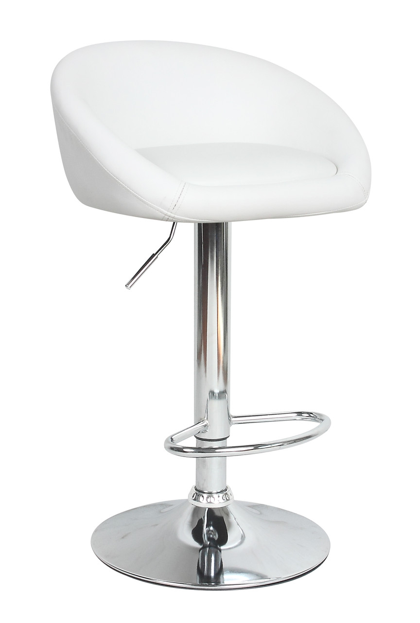 Барный стул Друм белый с подлокотниками от SDM Group, экокожа