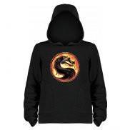 Кенгурушка, реглан (толстовка с капюшоном мужская) с принтом Mortal Kombat New logo