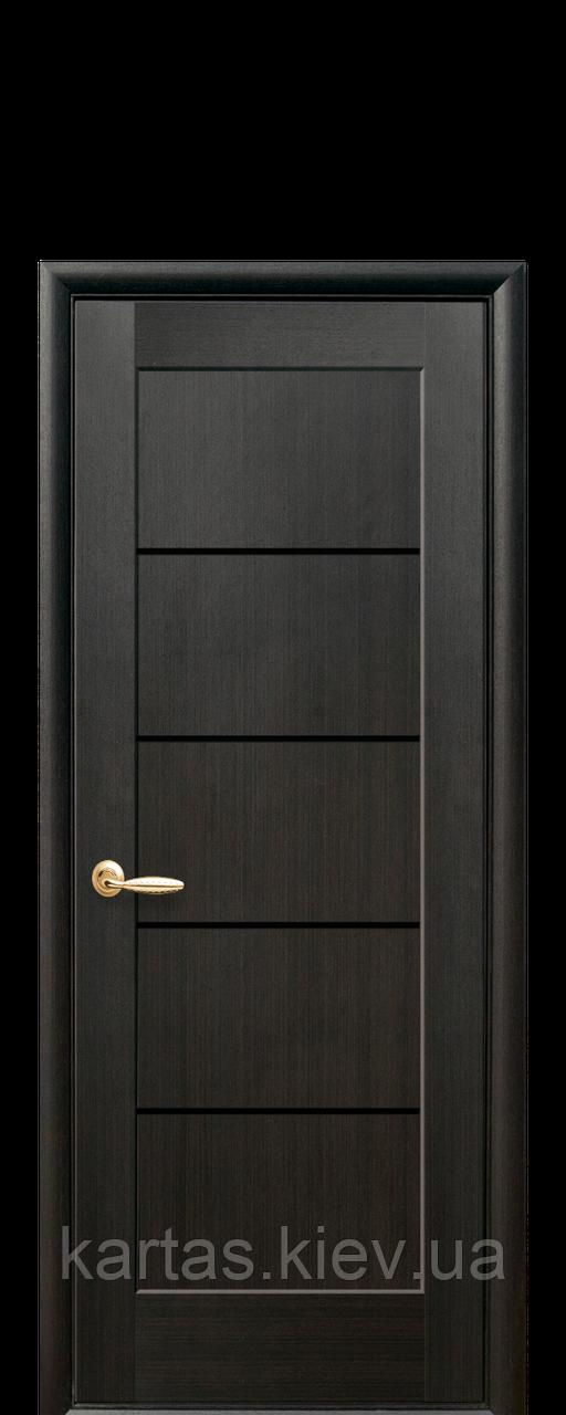 Дверное полотно Мира Венге New с черным стеклом