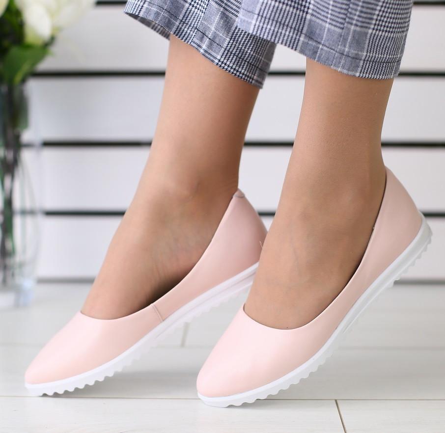 cfa5bd034 Модные женские кожаные балетки туфли на высокой подошве на танкетке пудра  SR67JK06IN