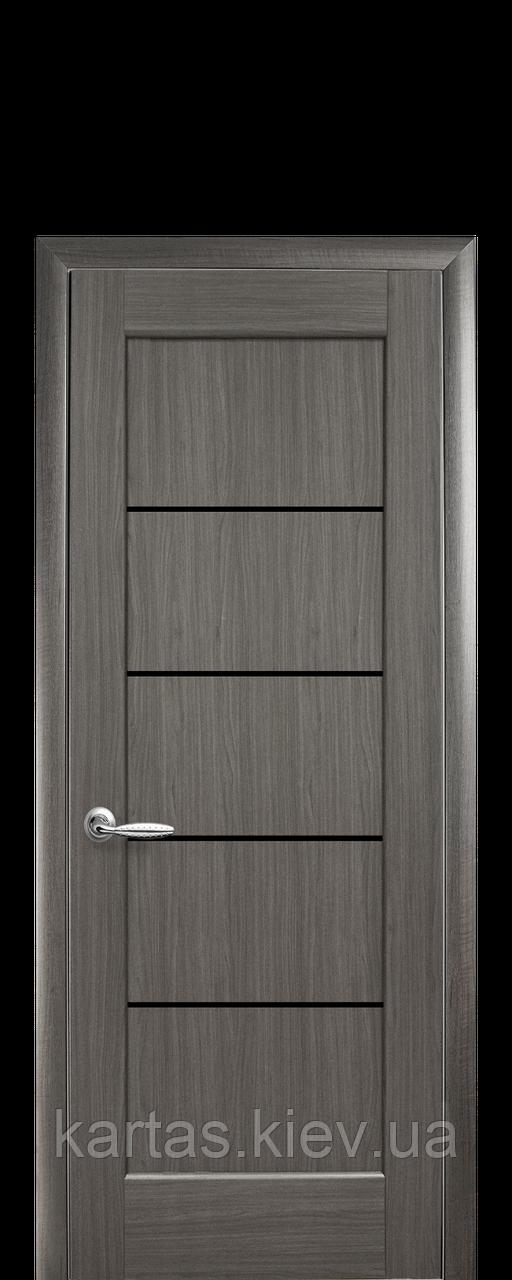 Дверное полотно Мира Серый с черным стеклом