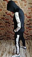 Мужской спортивный костюм с капюшоном черный с белыми лампасами, фото 1