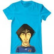 Мужская футболка летняя с принтом Месси карикатура