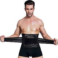 Лечебный мужской пояс-бандаж для утяжки талии, поддержки поясницы после травм на липучках, черный, размер L