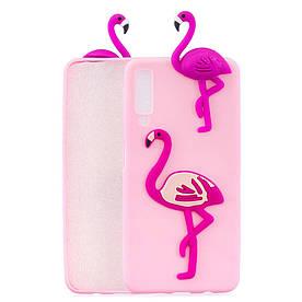 Чехол накладка 3D для Samsung Galaxy A7 2018 A750F силиконовый, Розовый фламинго