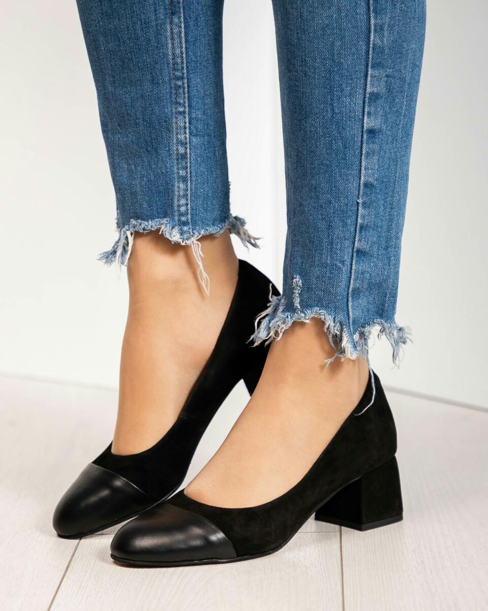 4a0fb66f8 Туфли на среднем каблуке замша/кожа, Цвет: черный - Интернет-магазин обуви