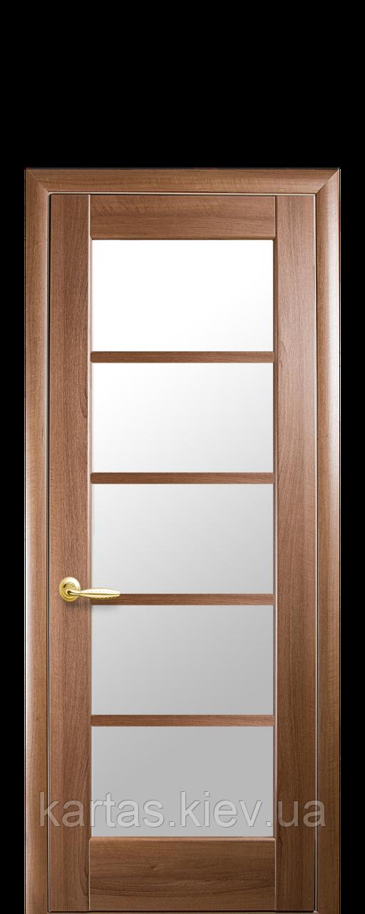 Дверное полотно Муза Золотая Ольха со стеклом сатин