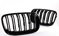Решетка радиатора ноздри BMW X5 E70 X6 E71  двойная двухреберна бмв черный глянец