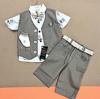Тройка на мальчика. Комплект на мальчика. Рубашка, жилетка и бриджи на 1 год