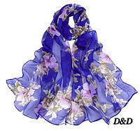 Шарф синий с цветочным принтом