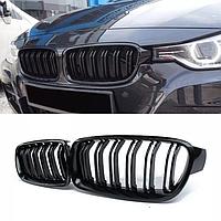 Ноздри Решетка решетки решотка радиатора BMW F30 F31 М3 бмв ф30 ф31 двойные ребра  Черный глянец