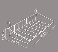 Корзина-полка навесная  на торговую сетку 650/150мм (от производителя)