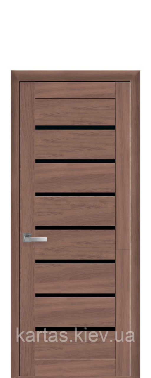 Дверное полотно Леона Ольха 3D с черным стеклом
