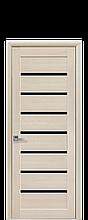 Дверное полотно Леона Дуб Жемчужный с черным стеклом