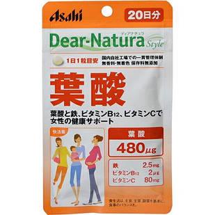 Японские Dear-Natura фолиевая кислота (B9) 480 мкг   + B 12 + вит С + железо  20 таблеток на 20 дней