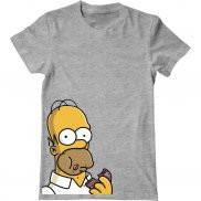 Мужская футболка с принтом Гомер и пончик