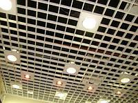 Потолок Грильято150х150 белый/металлик/черный