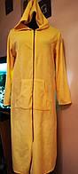 Велюровый халат женский длинный, хлопок, Турция, желтый