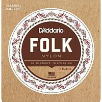 Струны для классической гитары D'Addario EJ34 Folk Nylon Ball End 80/20 Bronze/Black Nylon Trebles