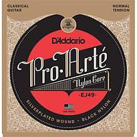 Струны для классической гитары D'Addario EJ49 Classical Guitar Strings Black Nylon Normal Tension