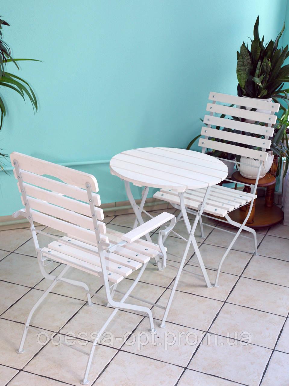 Складной круглый столик для кафе белый