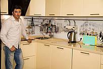Декоративное скинали для кухни из стекла - улочки