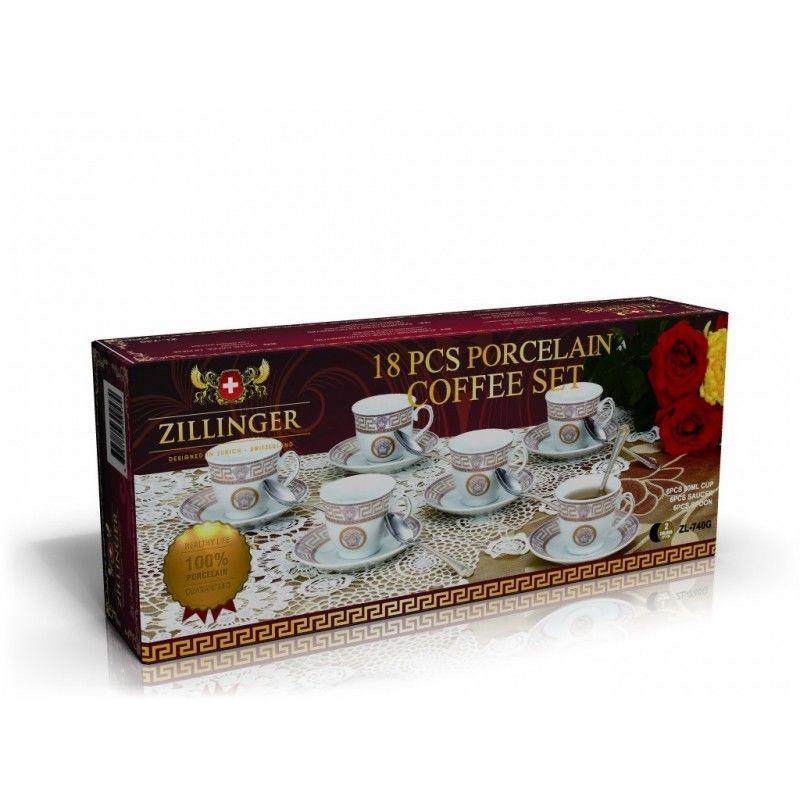 Кофейный фарфоровый набор ZILLINGER ZL-757G сервиз чайный 18 предметов