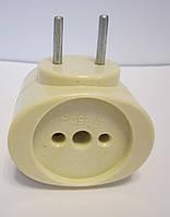 Тройник карболитовый желтый сталь 6А 250В, фото 1