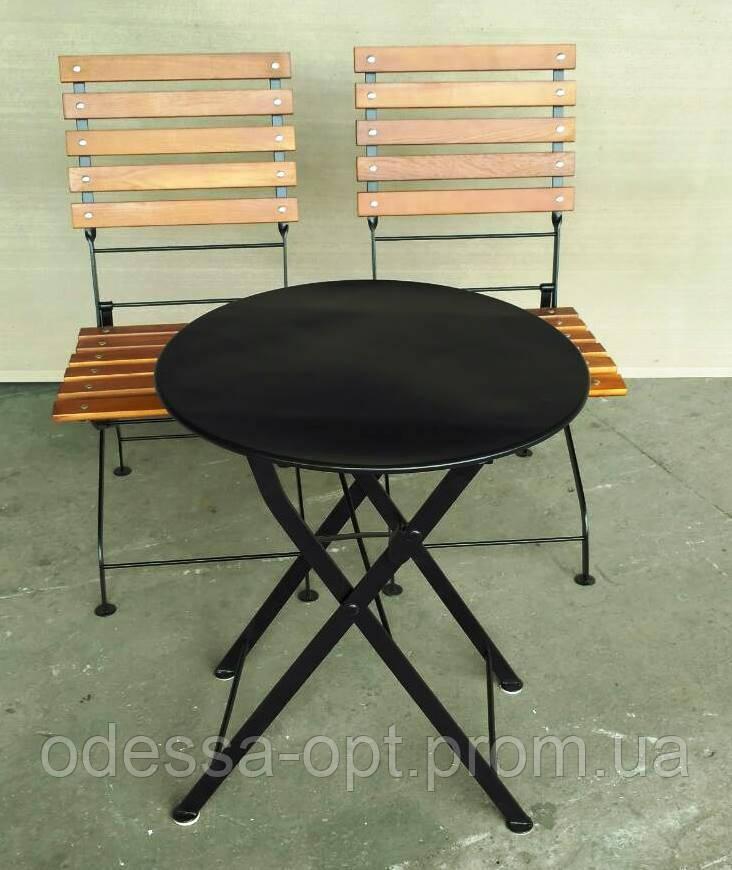 Складной круглый столик для кафе черный