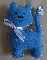 """Текстильная интерьерная мини-игрушка """"Котенок синий"""""""