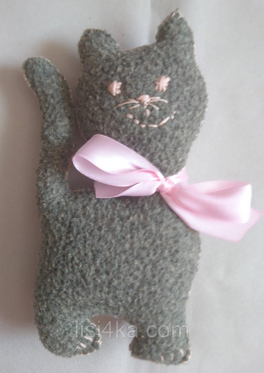 """Текстильная интерьерная мини-игрушка """"Котенок серый"""""""