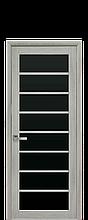 Дверное полотно Ясень Патина с черным стеклом