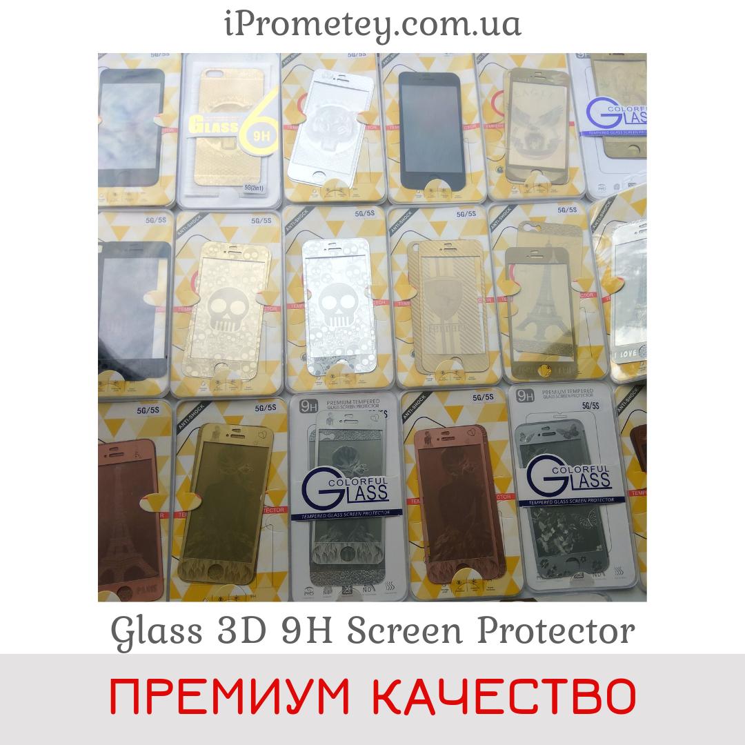 3D цветное защитное стекло Glass™ с рисунком для iPhone 5 на Айфон 5s SE перед зад Оригинал