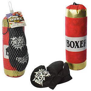 Боксерский набор M 5975-2 (24шт) груша, 37см, наполнитель текстиль, перчатки2шт, в сетке, 13-14-37см