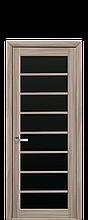 Дверное полотно Виола Сандал с черным стеклом