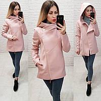 Пальто с капюшоном короткое арт. 156 с капюшоном розовая пудра, фото 1