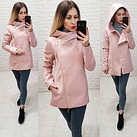 Пальто с капюшоном короткое арт. 156 с капюшоном розовая пудра