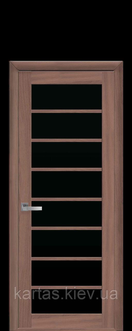 Дверное полотно Виола Ольха 3D с черным стеклом