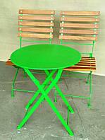 Складной круглый столик для кафе зеленый