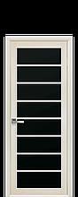Дверное полотно Виола Дуб Жемчужный с черным стеклом