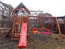 Детская площадка Spielplatz Томас с двойной качелью Гнездо, лазом и песочницей, фото 2
