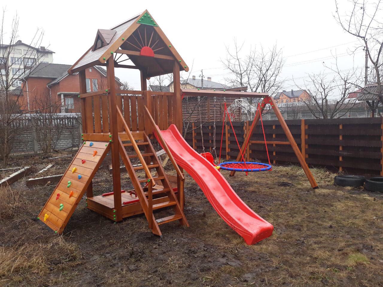 Детская площадка Spielplatz Томас с двойной качелью Гнездо, лазом и песочницей