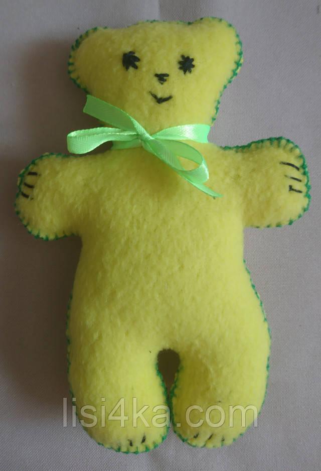 Брелок игрушка медвежонок лимонного цвета