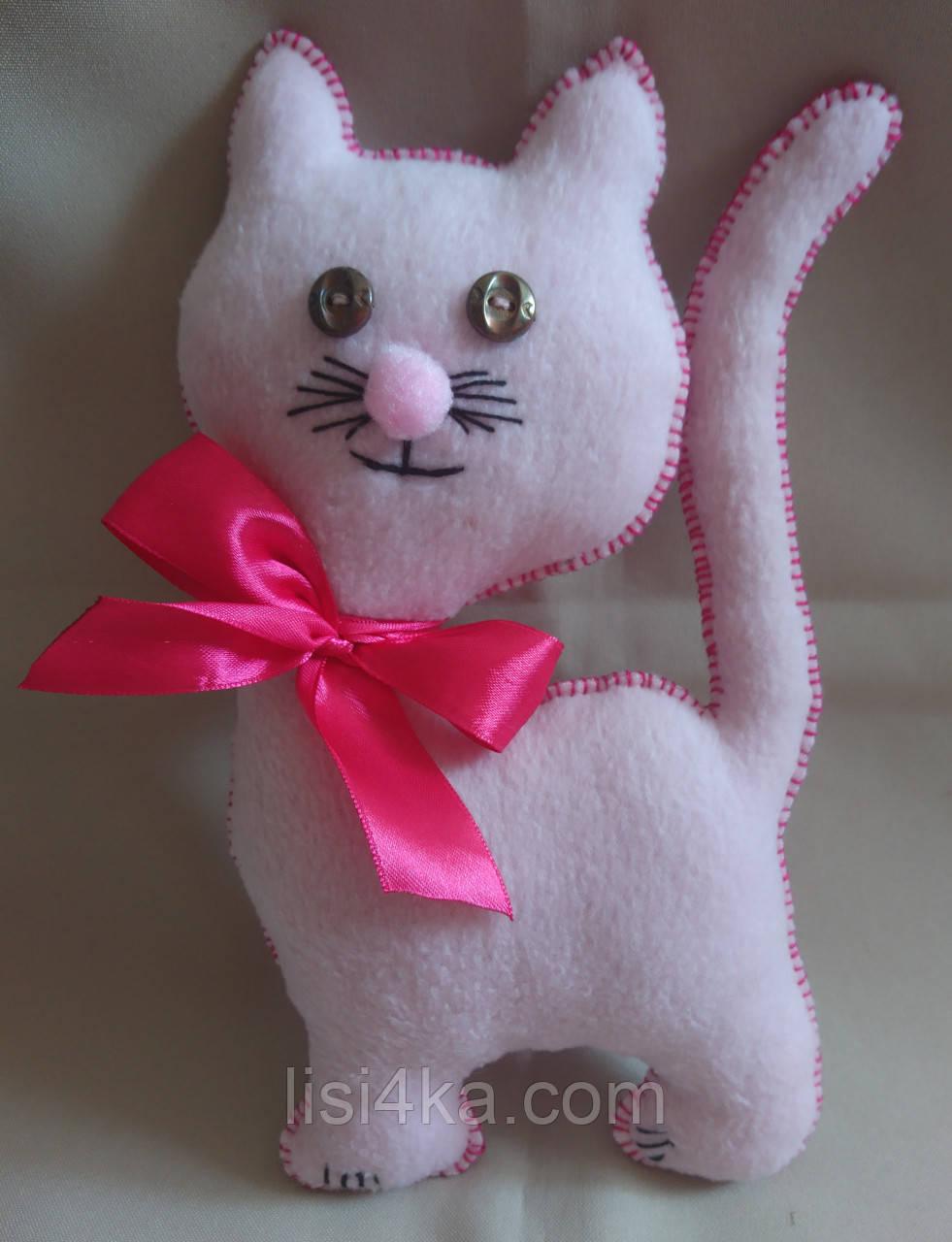 """Текстильная интерьерная игрушка """"Котенок розовый"""""""