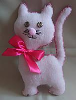 """Текстильная интерьерная игрушка """"Котенок розовый"""", фото 1"""