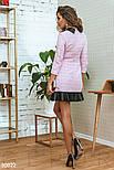 Офисное платье букле с кожаным воротником и подолом розовое, фото 3